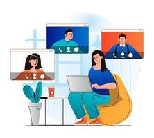 Video chatting concept in modern flat design. Woman communicate by group video call with friends or family at different screens at home. Online communication and virtual meeting. Vector illustration