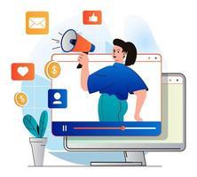 concepto de video marketing en moderno diseño plano. blogger con megáfono atrae audiencia en contenido de video, obtiene me gusta y comentarios, seguidores. estrategia de promoción online de éxito. ilustración vectorial vector
