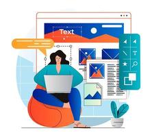 Web design concept in modern flat design. Woman designer create and optimize graphic elements, programming and testing. Developer creates interface layout, working at laptop. Vector illustration