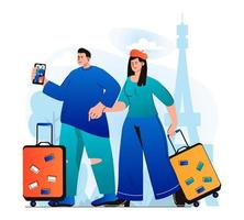 Traveling people concept in modern flat design. Couple travelers with luggage went on vacation and takes selfie in Paris. World tourism and sightseeing in tourist spots of French. Vector illustration