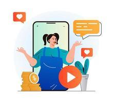 concepto de blogs de vídeo en diseño plano moderno. mujer bloguera en videoclip en aplicación móvil. creación de contenido digital, desarrollo de canales, seguidores y promoción online. ilustración vectorial vector