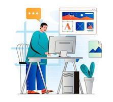 Web design concept in modern flat design. Man designer draws graphic elements and creates interface layout of mobile application, optimized webpage for screens, works on computer. Vector illustration
