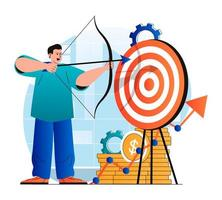 Business target concept in modern flat design. Businessman shoots bow at dartboard. Achievement of career goals, leadership, strategy, business development and profit growth. Vector illustration