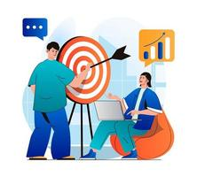 Business target concept in modern flat design. Businessman holds arrow and aims at dartboard, businesswoman analyzing data. Achievement of career goals, business strategy. Vector illustration