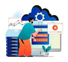 Cloud computing concept in modern flat design. Man user gains access to cloud storage and uploads his content to server. Data center infrastructure, service and technical support. Vector illustration