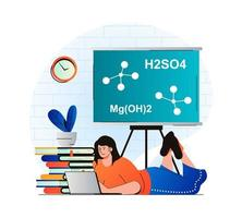 Education concept in modern flat design. Student studying lesson at laptop. Woman is reading textbook, does homework at class. Pupil learning at school, college or university. Vector illustration