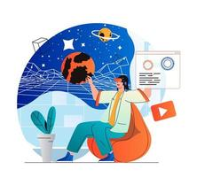 Cyberspace concept in modern flat design. Woman explores galaxy and planets in galaxy simulation using VR headset, innovation interactive education. Virtual augmented reality. Vector illustration