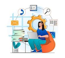 Customer support concept in modern flat design. Woman in headset works at laptop, advises clients. Consultant works in call center or technical support. Online communication. Vector illustration