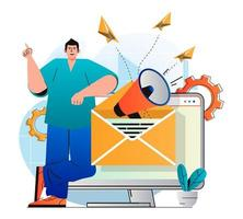 Email marketing concept in modern flat design. Man sends sales letters and newsletters to attract new customers. Online communication, business promotion and advertising campaign. Vector illustration
