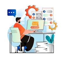 Email service concept in modern flat design. Man receives new letters and looks mail from computer. Online communication technology, business correspondence, promotional mailing. Vector illustration