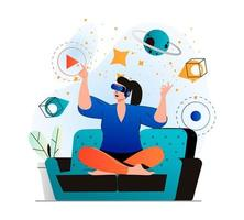 Cyberspace concept in modern flat design. Woman learning and touching elements of simulation using VR headset, innovation interactive education at home. Virtual augmented reality. Vector illustration