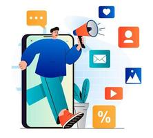 Digital marketing concept in modern flat design. Man with megaphone attracts new customers from social networks and mobile applications. Online promotion and advertising campaign. Vector illustration