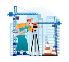 Construction engineer concept in modern flat design. Surveyor makes measurements and holding working drawings. Builder works at construction site with cranes. Real estate business. Vector illustration
