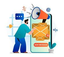 Email marketing concept in modern flat design. Man receiving new mails in mobile app. Advertising mailing to inform new customers. Online promotion and advertising campaign. Vector illustration