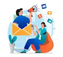 Email marketing concept in modern flat design. Woman receiving newsletter in mobile app. Marketer with megaphone attracts new customers. Online promotion and advertising campaign. Vector illustration