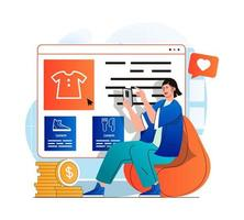 Mobile commerce concept in modern flat design. Woman chooses clothing on web site of store and pays for purchases in mobile app. Online shopping, bargain purchases, e-business. Vector illustration