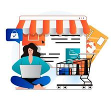 Mobile commerce concept in modern flat design. Woman makes profitable purchases on store website, paying and orders home delivery. Smart online shopping, e-commerce and e-business. Vector illustration
