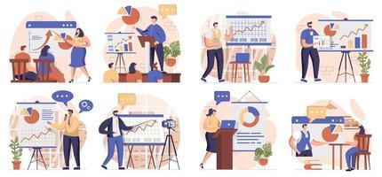 entrenador hablando colección de escenas aisladas. la gente aprende en formación empresarial, desarrollo profesional, ambientada en diseño plano. ilustración vectorial para blogs, sitios web, aplicaciones móviles, materiales promocionales. vector