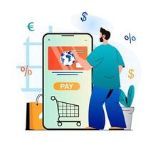 Mobile commerce concept in modern flat design. Man buys products in online store and pays for purchases with credit card in mobile application. Online shopping and e-business. Vector illustration