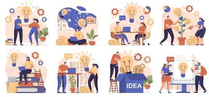 Business idea collection of scenes isolated. People brainstorming, generating ideas and innovations, set in flat design. Vector illustration for blogging, website, mobile app, promotional materials.