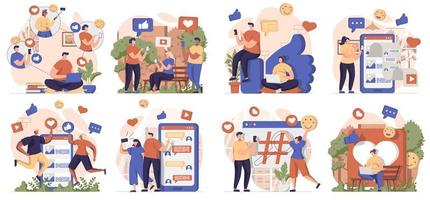 Social network collection of scenes isolated. People browsing posts, like, chatting online at apps, set in flat design. Vector illustration for blogging, website, mobile app, promotional materials.