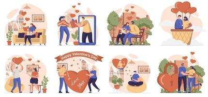 Valentines day collection of scenes isolated. People go on romantic dates, love and relationships, set in flat design. Vector illustration for blogging, website, mobile app, promotional materials.