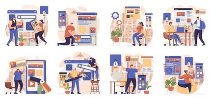 Web design collection of scenes isolated. People create website layout, place elements and graphics, set in flat design. Vector illustration for blogging, website, mobile app, promotional materials.