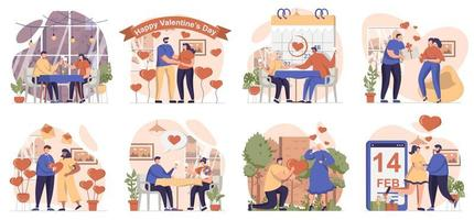Valentines day collection of scenes isolated. People in love relationship celebrate romantic holiday, set in flat design. Vector illustration for blogging, website, mobile app, promotional materials.