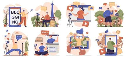 Video blogging collection of scenes isolated. People record different video clips for online channel, set in flat design. Vector illustration for blogging, website, mobile app, promotional materials.