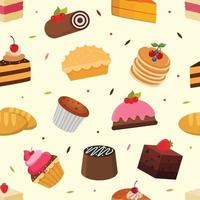 Cakes seamless pattern vector graphic
