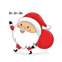 lindo santa claus con saco. diseño de feliz navidad. vector