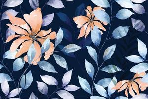 Seamless pattern of flowers, leaves, plants, drawn with watercolor on blue background. Designed for fabric and wallpaper, vintage style. vector