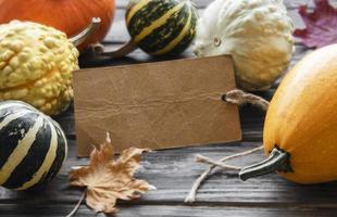 Autumn composition,  cozy fall season,  pumpkins and leaves photo