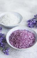 Natural herb cosmetic salt with lavender flowers photo