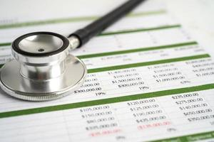 Stethoscope on spreadsheet paper, Finance, Account, Statistics, Investment, Analytic research data economy spreadsheet and Business company concept. photo