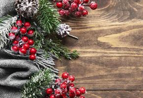 Christmas flat lay background with fir tree and decorations photo