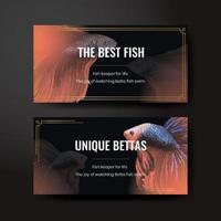 Twitter template with betta fish concept,watercolor style vector
