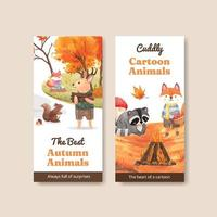 Flyer template with autumn animal concept,watercolor style vector