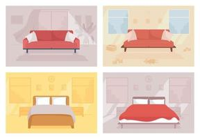 Family home flat color vector illustration. Contemporary couch. Toys on floor. Double bed for lounge. Household for couple. Bedroom and living room 2D cartoon interior with furnishing on background