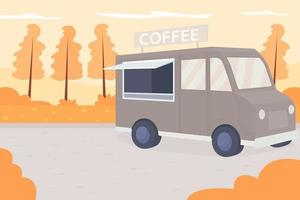 Autumn park flat color vector illustration. Coffee truck with espresso delivery. Van in public selling hot beverage. Urban recreation. Autumnal 2D cartoon landscape with no one on background