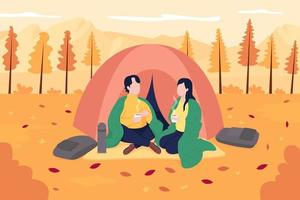 Couple camping in october flat color vector illustration. Recreational activity in november. Autumn relaxation. Happy boyfriend and girlfriend 2D cartoon characters with landscape on background