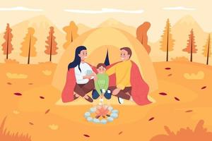 Family camping in october flat color vector illustration. Mother and father sitting with kid in fall scenery. Happy parents with child 2D cartoon characters with landscape on background