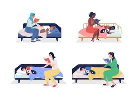Mom read for child semi flat color vector character set. Sitting figures. Full body people on white. Family members isolated modern cartoon style illustration for graphic design and animation pack