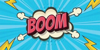 Boom pop art bubble cloud. Funny speech bubbles. Trendy retro background in pop art retro comic style vector