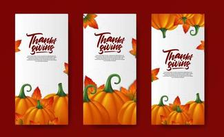 Thanskgiving realistic pumpkin vegetable social media stories template autumn fall maple leaves vector