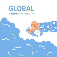 World hand washing day wash hands in soap bubbles vector