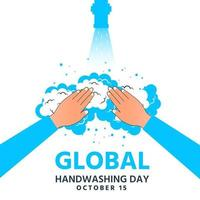 World hand washing day open water and clean with soap bubbles vector