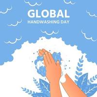 World hand washing day full of soap bubbles and flowers around vector