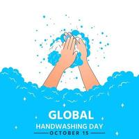 World hand washing day clean hands full of soap bubbles vector