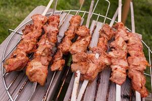 Russian shashlik with skewers on a round grill photo